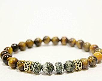 tiger's eye bracelet for men's , men's bracelet , tiger's eye , 8 mm beaded  , handmade bracelet , Stretch Bracelet, Brown Stone Bracelet,