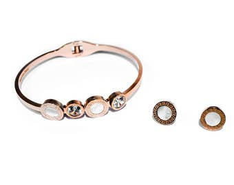 Mother of pearl rose gold cuff bracelet