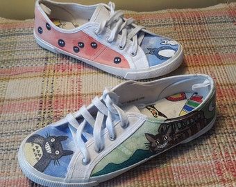 Hand painted My Neighbour Totoro pumps like converse. Custom design. Made to order. Studio Ghibli. Unique. Cartoon. Japanese