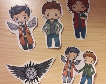 Supernatural Fandom Stickers, Sam, Dean, Castiel SPN