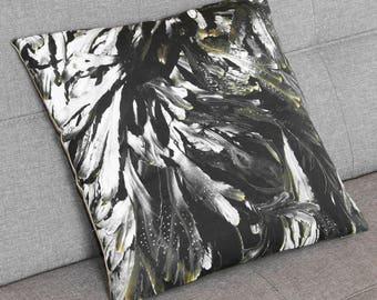 seaweed and khaki cushion cover, decorative throw pillow, square, seaside, seaweed pattern, original design by EliseCeramics