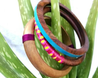 Vintage bangles - wooden bangles - bold bright - colourful design - tropical colours - summer gift - vacation jewelry - boho jewelry