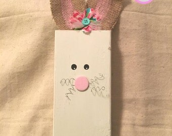 Wood Easter Bunny, Burlap Ear Bunny, Wood Block Bunny, Wood Rabbit