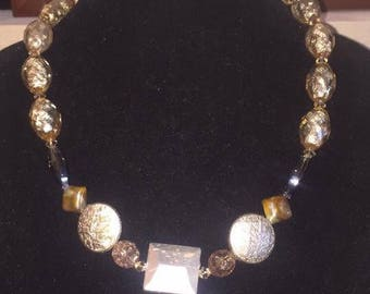 Warm Colored Multi-Style Bead Necklace