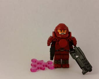 LEGO Crimson Space Marine custom painted Building Brick Minifigure with Weapons