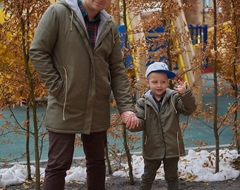 Matching clothes outerwear Father son matching jackets, Khaki spring raincoats Daddy and boys jacket Father and me outfit Childs boy jacket