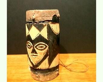 Vintage African Handcarved Wood Djembe Hide Drum