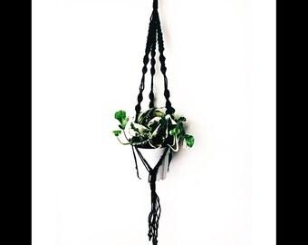 "Mini Macrame Plant Hanger in Black Jute / 30"" long / 3 Ply Jute"