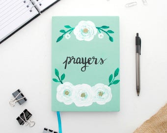 Journal - Prayers - Prayer journal - Lined journal - Hand painted - Soft cover - Lined - 6 x 8.5 inches - Light green journal - Shop small