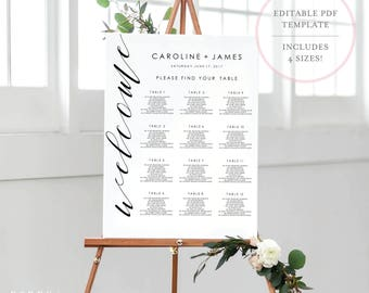 Seating Chart Template. Wedding Seating Chart. Seating Chart. Printable Seating Chart. Wedding Seating Sign. Editable Seating Chart. (SH)