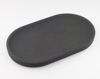 Oval tray in anthracite concrete / / empty Pocket concrete / / decorative concrete tray / / concrete tray / / cast-iron serving tray