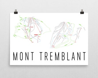 Mont Tremblant Ski Map Art, Mont Tremblant Quebec, Mont Tremblant Trail Map, Ski Lift, Ski Lodge Decor, Ski Print, Ski Trail Sign, Poster