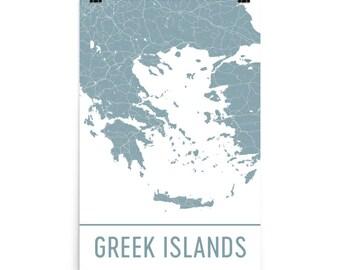 Greek Islands Map, Greek Islands Art, Greece Print, Greek Islands Greece Art Poster, Greek Islands Wall Art, Map of Greek Islands, Art, Gift