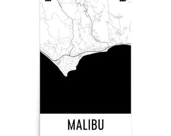Malibu Map, Malibu Art, Malibu Print, Malibu CA Poster, Malibu Wall Art, Map of Malibu, Malibu Gift, Malibu Decor, Malibu Map Art Print