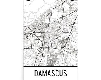 Damascus Map, Damascus Art, Damascus Print, Damascus Syria Poster, Damascus Wall Art, Map of Damascus, Damascus Gift, Damascus Map Print