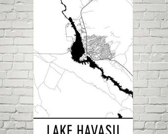 Lake Havasu Arizona, Lake Havasu AZ, Havasu City Map, Arizona Decor, Lake Map, Havasu Lake Art, Art, Cottage Decor, Havasu AZ, Boating