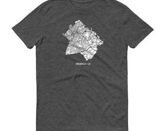 Greenville Shirt, Greenville SC, Greenville TShirt, Greenville Gift, Greenville Tee, Greenville Map, South Carolina Shirt, South Map