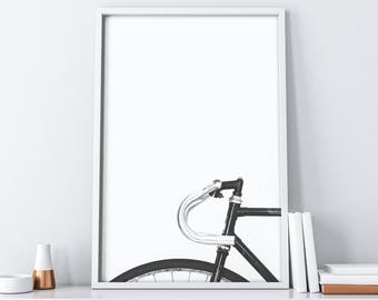 Bicycle Wall Art| Minimalist Black and White| Printable Art| Bike Print Decor| Nordic Wall Decor| Scandinavian Large Wall Art| Dorm Decor