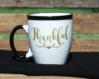 Thankful. Coffee Mug. Coffee Lover. Coffee Addict. Blessed. Thanksgiving Mug.