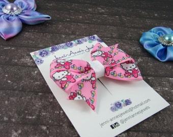 Pinwheel Hair Bow Clip - Hello Kitty