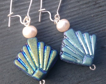 Mermaid Pearl and Blue Shell Earrings