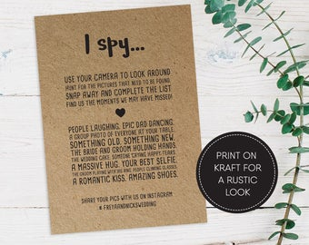 Printable I Spy Wedding Game/ Wedding Games/ Wedding Hashtag/ Wedding Reception/ Photo hunt/ I Spy/ Freya suite #042