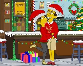 Family Portrait, Couple Portrait, Custom Portrait, Simpsons Custom, Cartoon Portrait, Christmas Art, Christmas Gift, Family Drawing
