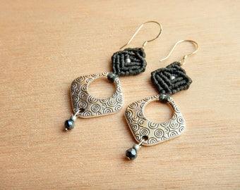 Modern geometric earrings, macrame gray earrings, sterling silver earwires, minimal earrings, dangle earrings, silver jewelry, gift for her
