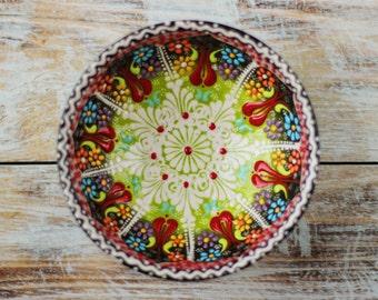 Bowl, black bowl, colorful bowl, black saucer, decorative bowl, colorful saucer, handmade bowl, small bowl, pottery bowl, handmade pottery