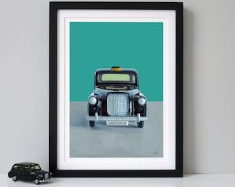 Black London Taxi, Fine Art Print, black cab print, london taxi print, london cab print,london gift, Limited Edition Print - BEST OF BRITISH