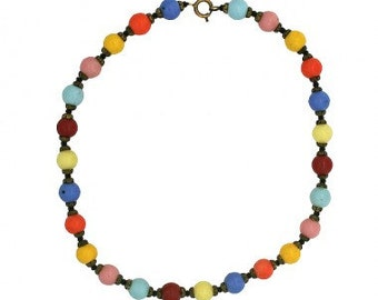 1940s Multicolour (Blue, Gold, Green, Pink, Red, Turquoise and Yellow) Glass Bead Czechoslovakian Vintage Necklace
