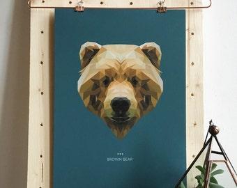 Brown Bear Lowpoly Fine Art Design Print   A3 & A5   Spirit Power Animal / Totem / Colour Psychology