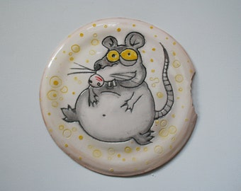 "Ceramic plate ""Mouse and cheese"". exclusive and unique plate.  Rat. interesting gift."