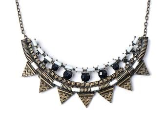 Vintage necklace, glass beaded necklace, pendant necklace, vintage choker, choker necklace, retro choker, Aztec style necklace