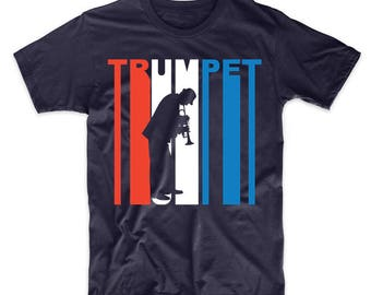Retro Style Red White And Blue Trumpet T-Shirt