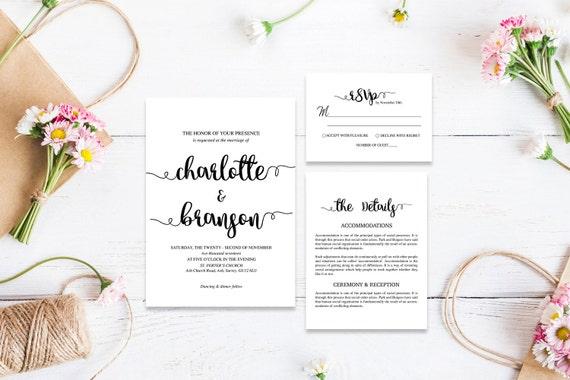 Elegant wedding invite_5,Printable Wedding Invitation Suite,Wedding Invite Set,Wedding Printable,Calligraphy