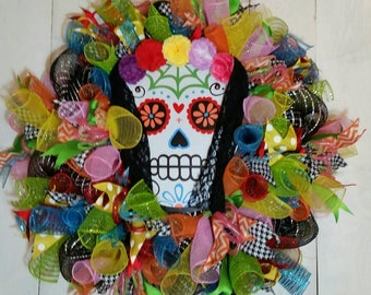 Day of the Dead Wreath, Dia de los Muertos, Sugar Skull Wreath, Halloween Wreath, Halloween Decor, Skull Wreath, Day of the Dead Decor