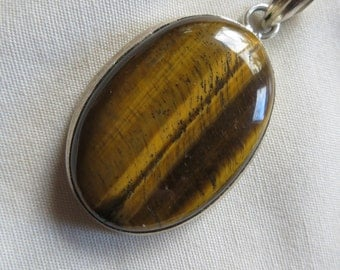 Beautiful Sleek Tiger's Eye Sterling Silver Pendant Tiger Tigers