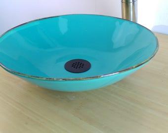 12in 13in Teal Turquoise Seafoam Green Ceramic Porcelain Bathroom Vessel Sink + drain
