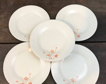 Orange Floral Side Plates set of 5