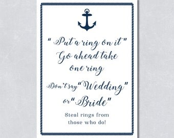 Don't say bride or wedding / Put a ring on it / Bridal shower game / Nautical navy blue / Anchor / Beach themed / INSTANT DOWNLOAD