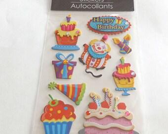 Scrap-booking Stickers Paper Craft Happy Birthday party cake clown Cupcake  Autocollants Nine (9)