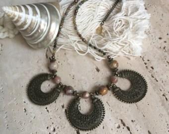 Tibetan Brass Choker Necklace