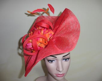 Red Fascinator,Red Wedding Hat, Red Ascot Fascinator,Red Ascot Hat,Red Occasion Hat,Red Wedding Fascinator.