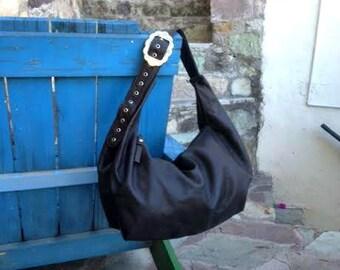 Dark Brown Leather Hobo Bag
