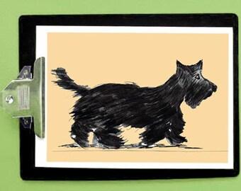 Scottish terrier - scottie - scottie dogs - scottie dog- art print - Black scottie - watercolor - dog art - dog poster art - rustic dog