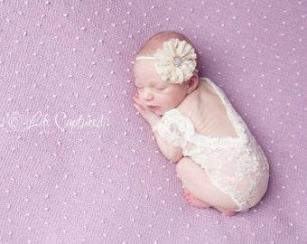 newborn photo prop, Lace One-piece Prop, Cream stretch lace