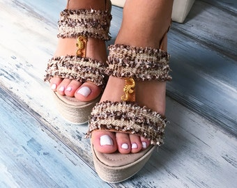 """Bohemian wedges """"Narcissus"""",Greek leather wedges"""