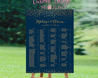 Wedding Seating Chart, Wedding seating chart alphabetical, Navy Gold Dots Confetti Wedding Seating Chart - US_WC0203a