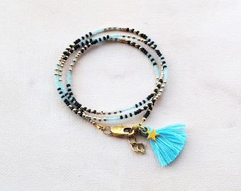 Boho Tassel Bracelet ,Seed bead Friendship bracelet, stackable bracelet, Delicate Thin Boho Bracelet, Wrap bracelet, layered bracelet blue